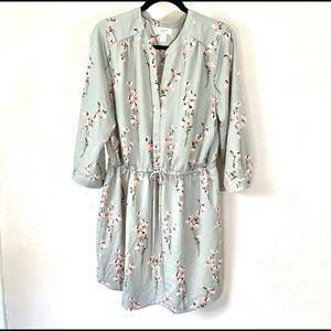 LOFT 3/4 sleeve gray dress w/ flowers szXL